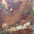 rostiger Felsen mit Goldader